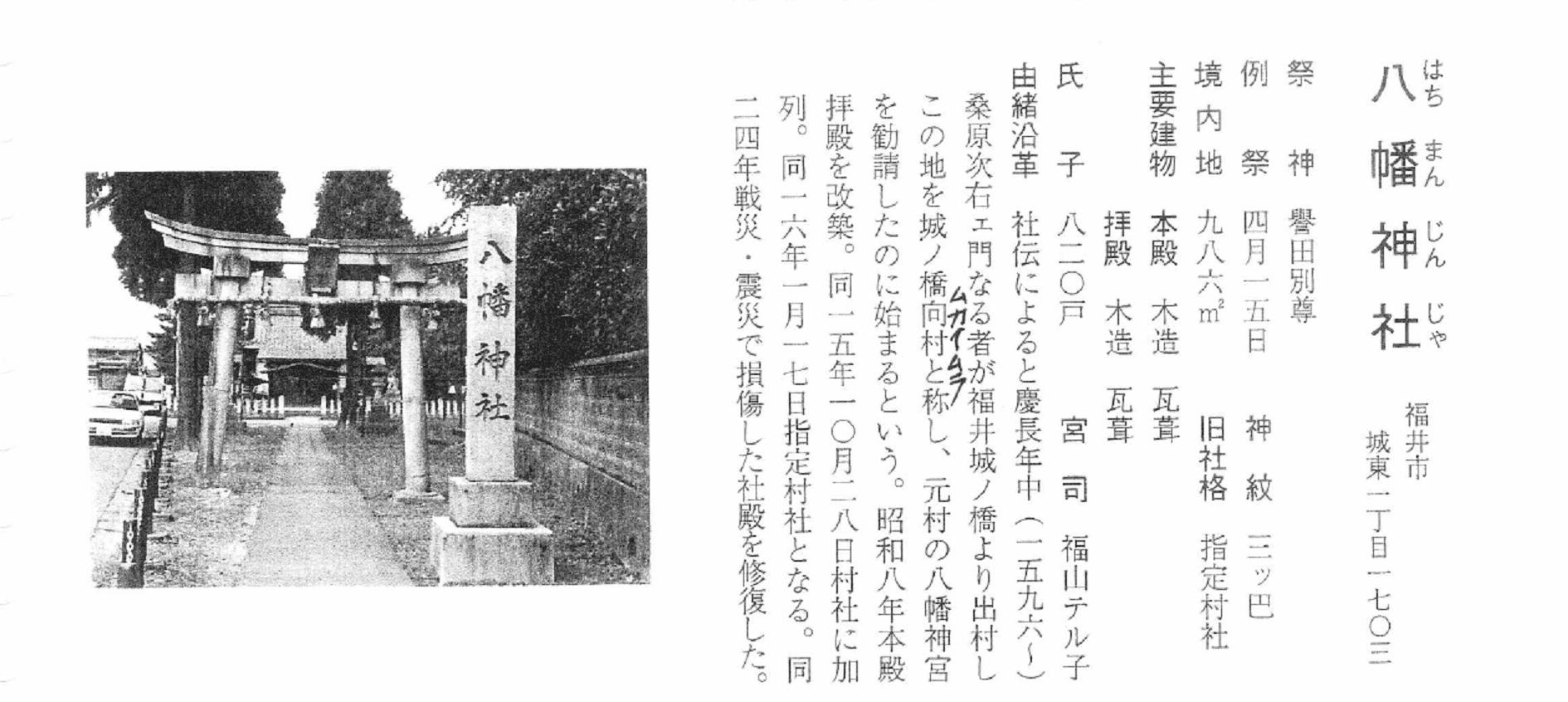 神社台帳の抜粋